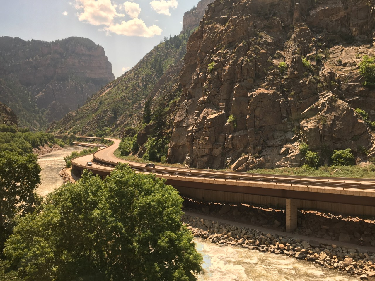 Railroad, Colorado River, and I70 heading west through the Rocky Mountains