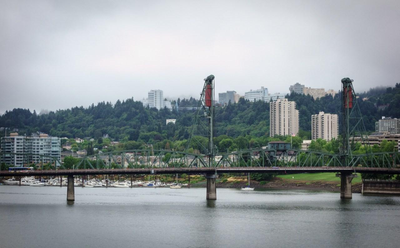 Hawthorne Bridge with OHSU in the background