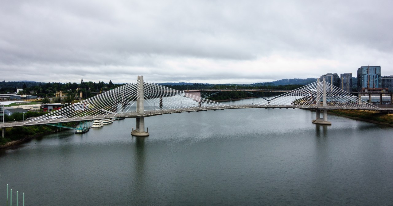 Tilikum Crossing as seen from the Marquam Bridge