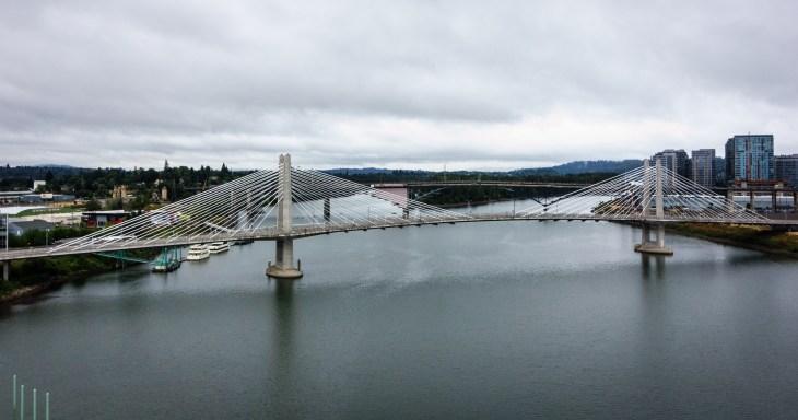 Tilikum Crossing as seen from the Marquam Bridge