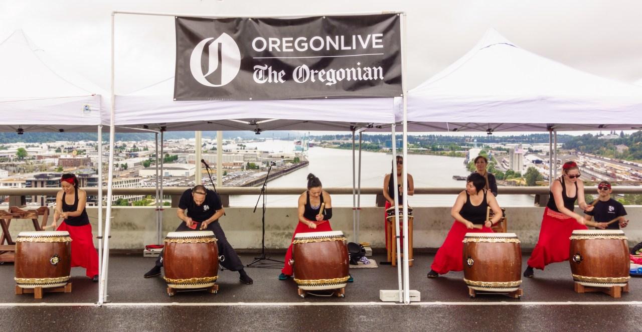 Drummers providing entertainment on the Fremont Bridge