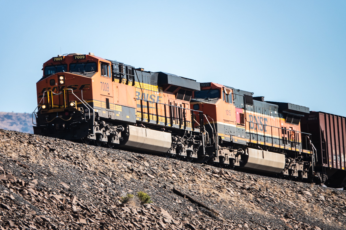 """Close up of the locomotives pulling a BNSF oil train rolling across the """"The Wall"""" east of Maryhill, WA"""