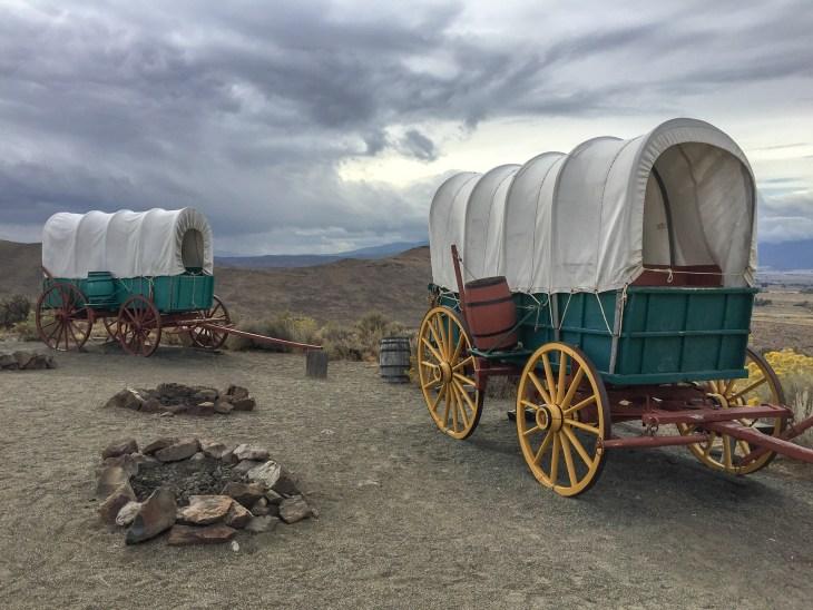 Replica wagons at the Oregon Trail Interpretive Center. Baker City, Oregon. (Photo credit: Carla)