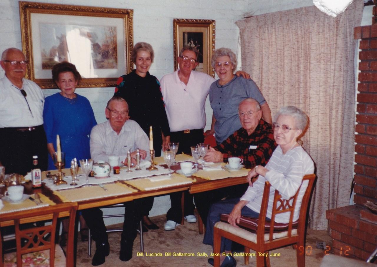 Bill and Lucinda Greiner; Bill Gallamore, Sally and Jake Baker, Ruth Gallamore, Tony and June