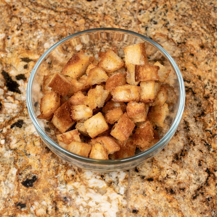 Buttery, garlicky croutons.