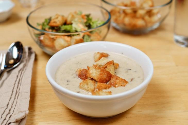 Soup, salad, and croutons