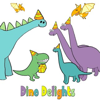 Dino Delights: Our first full range of children's cards, featuring a menagerie of delightful dinos...