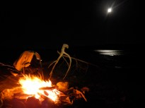 Campfire glow. Penobscot Bay, Maine