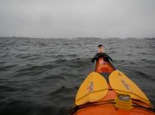 Rainy day on Long Island Sound near New Rochelle, NY