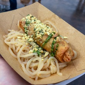 Vegetable Egg Roll and Chilled Sesame-Garlic Noodles with Cilantro-Cashew Sauce and Toasted Peanuts