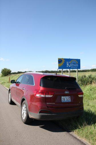 På väg från Oklahoma in i Kansas
