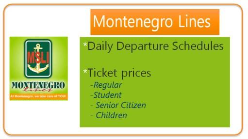 Montenegro Lines Daily Trip Schedules for Marinduque Romblon Mindoro etc