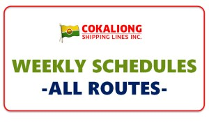 Cokaliong Shipping Weekly Schedules 2016 - 2017