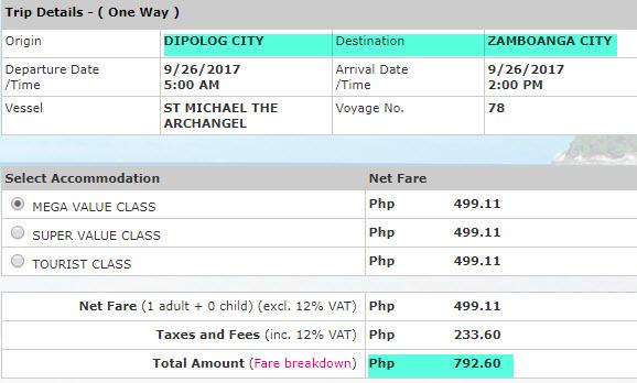 Dipolog to Zamboanga 2Go rate