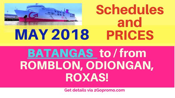 2go schedules Batangas to Romblon, Odiongan, Roxas MAY 2018