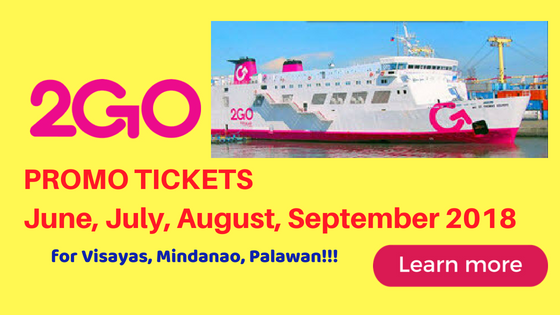 2Go Travel Promo Fare Tickets for Visayas, Palawan, Mindanao Travel JUNE to SEPTEMBER 2018