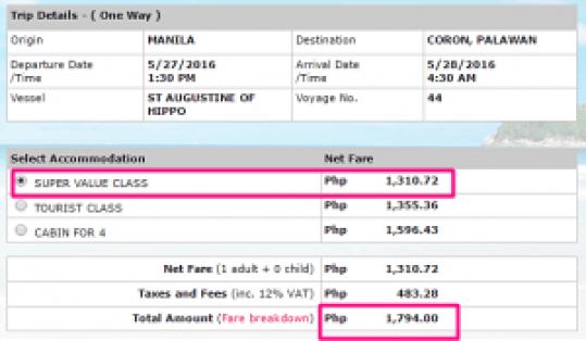 Manila to Coron May 2016 Ticket Prices