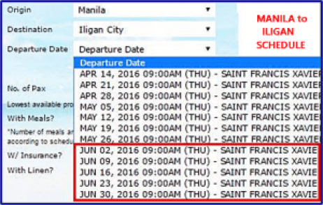 Manila_to_Iligan_June_2016 Schedule