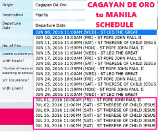 Cagayan De Oro to Manila July 2016 Schedule