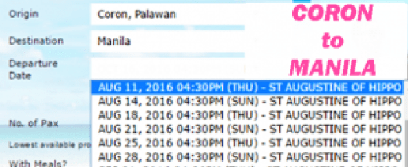 Coron to Manila August 2016 Schedule