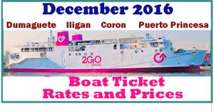 December 2Go Travel Ticket Prices DUMAGUETE, ILIGAN, CORON and PUERTO PRINCESA