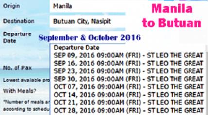 Manila to Butuan September -October 2016 Departure Date