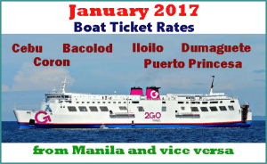 2Go Travel January 2017 Ticket Prices Cebu, Bacolod, Iloilo, Dumaguete, Palawan