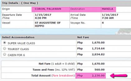 Coron_to_Manila_2Go_Ship_Ticket_Price_January_2017
