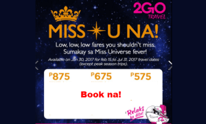 2Go Travel Promo 2017 as Low as P575