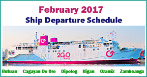 2Go Travel February 2017 Sailing Schedules: Manila to Mindanao and Vice Versa