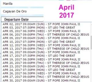 2Go Travel Ship Schedule April 2017 Manila to Cagayan De Oro