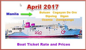 2Go Travel April 2017 Boat Fares Manila to and from Mindanao and Vice Versa