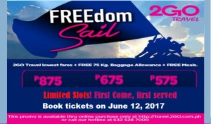 2Go Travel Independence Day Promo: July-September 2017 trips