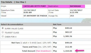 Caticlan-to-Batangas-Superferry-Ticket-Rate-December-2017