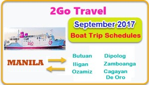 September 2017 2Go Travel Sailing Schedule Manila to or from Mindanao