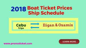 2018 Ship Schedule & Boat Fares Cebu to/ from Ozamiz & Iligan