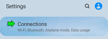 In Settings select Connections