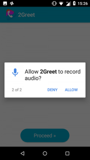 5. Allow 2greet to use the microphone