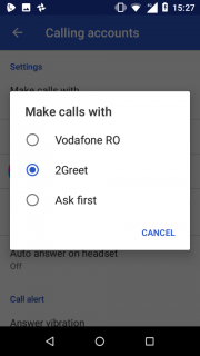 "10. In Phone settings press on ""Make calls with"" and choose 2Greet as default calling account"