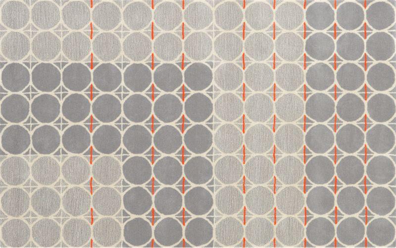 GreyDotOrangeRug5x8F13