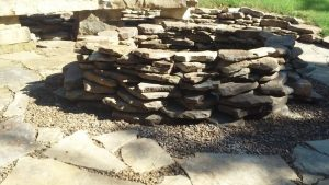 native stone, firepit