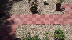 red paver walkway