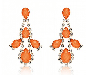 Beverly Orange Crystal Chandelier Earrings