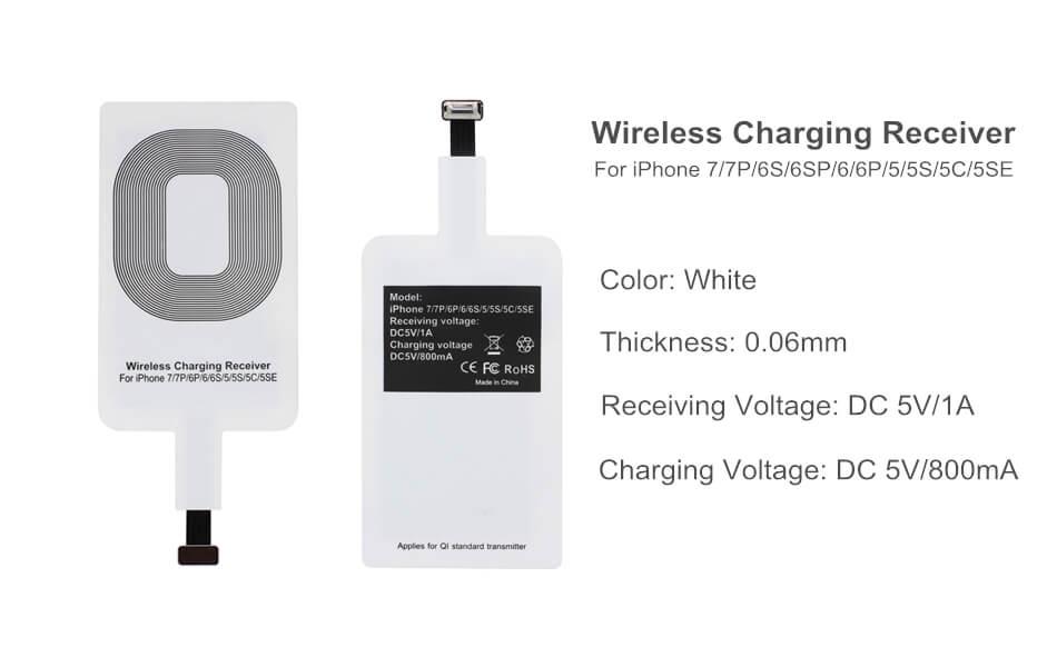 Универсальный qi приемник беспроводной зарядки для iPhone 7/7Plus/6/6S/6Plus/5/5S/5C/5SE