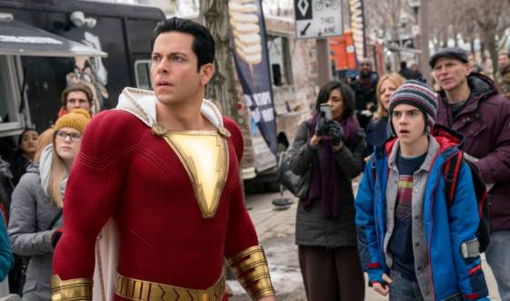 Asher Angel as Billy Batson and and Zachary Levi as Shazam. Courtesy of Warner Bros. Pictures