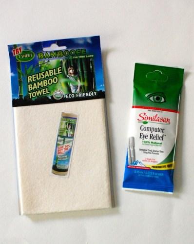 Bamboo towel & eye drops.