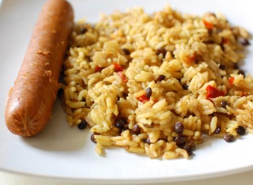 Ginger Lentil Rice! (and a vegan sausage link)