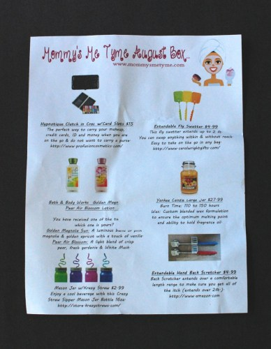 Mommy's Me Tyme August Box info sheet