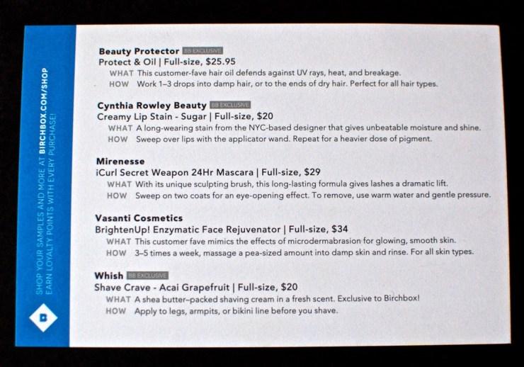 Birchbox contents December