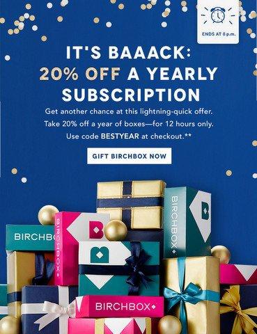Birchbox 20% off